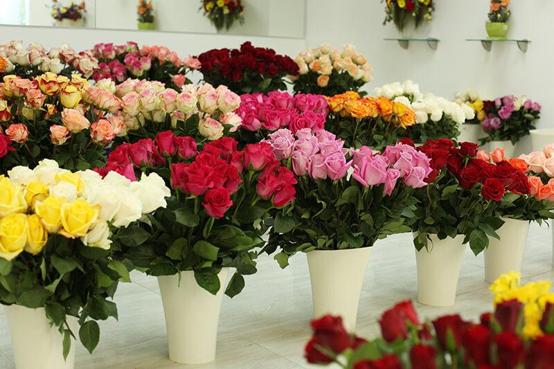 Розы в вазах
